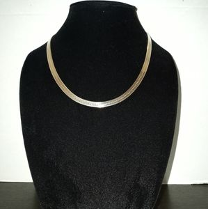 Real 925 sterling silver herringbone necklace